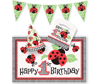 LIVELY LADYBUGS HIGH CHAIR KIT INCLUDES 1 EA PLASTIC BIB BIRTHDAY HAT MINI PLAST FLAG BANNER FLOOR MAT