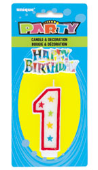 37311 Numeral 1 Glitter Candle with Cake Decor