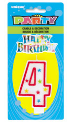 37314 Numeral 4 Glitter Candle with Cake Decor