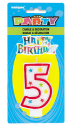 37315 Numeral 5 Glitter Candle with Cake Decor
