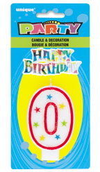 37320 Numeral 0 Glitter Candle with Cake Decor