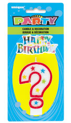 37321 Numeral ? Glitter Candle with Cake Decor