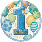 First Birthday Balloons Blue