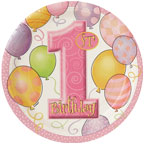First Birthday Balloons Pink