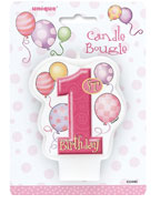 First Birthday Balloons Pink Candle