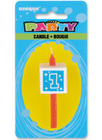 34031 Numeral 1 Glitter Block Candle