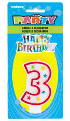 37313 Numeral 3 Glitter Candle with Cake Decor