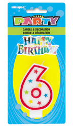 37316 Numeral 6 Glitter Candle with Cake Decor
