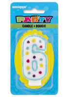 34006 Party Numeral 6 Candle