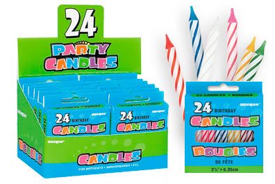 1008MC Candy Striped, Multi Color Birthday Candles