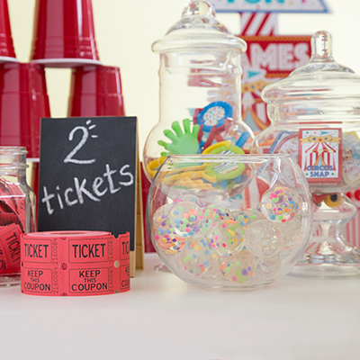 Circus Party Ideas - Party Favors, Tickets, and Easel