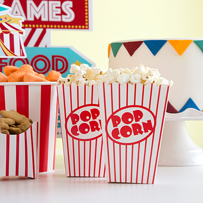 Circus Party Ideas - Popcorn Containers and Snack Containers