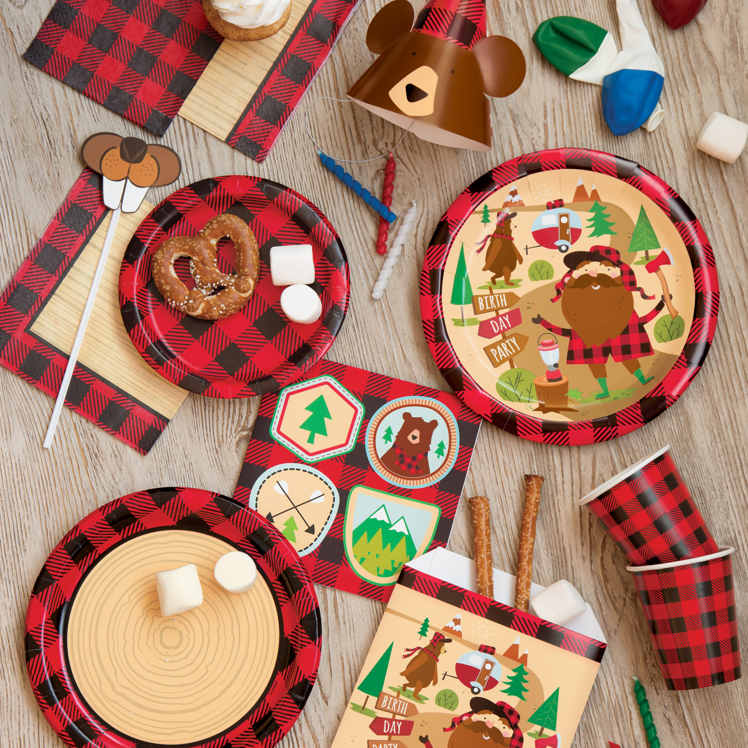 Buffalo Plaid Party Supplies - Lumberjack Party Ideas
