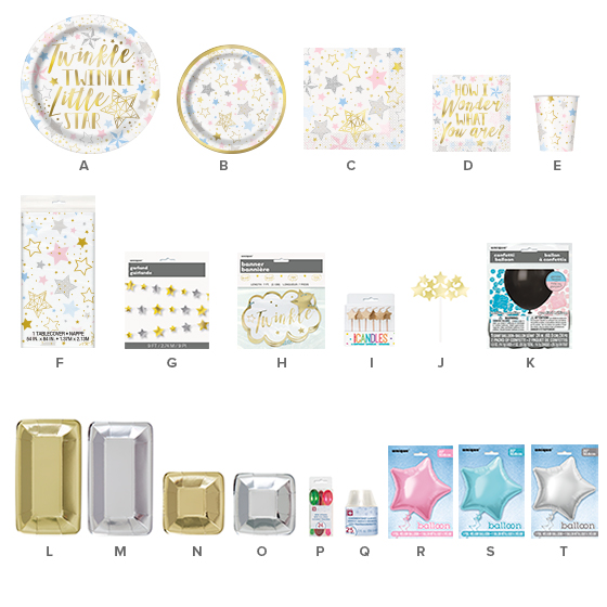 Twinkle Twinkle Little Star Party Supplies - Gender Reveal Party Ideas