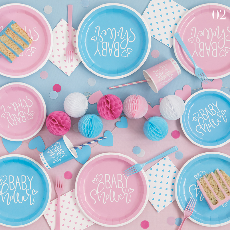 Blue and Pink Baby Shower Supplies