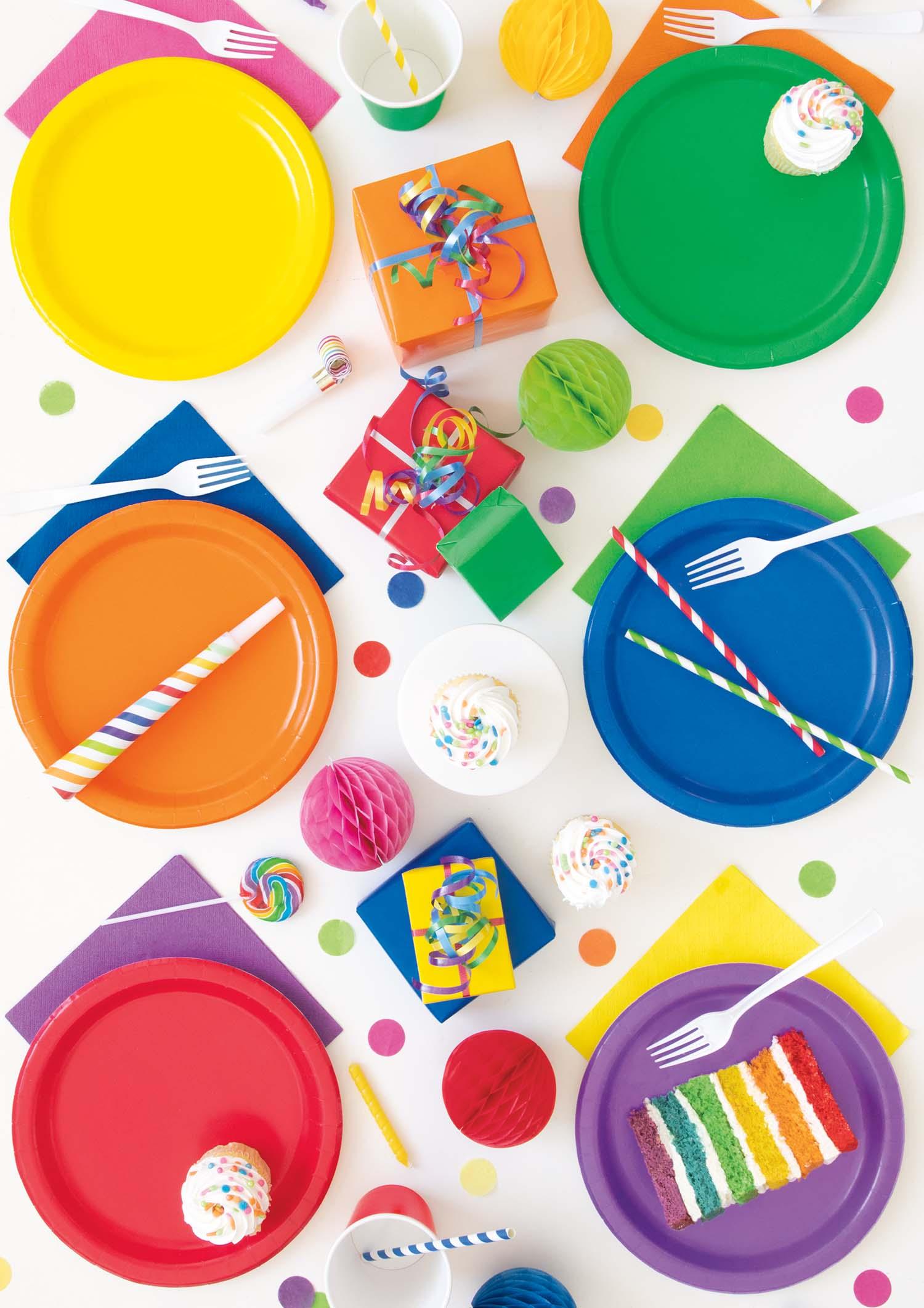Solid Color Tableware - Rainbow Party Ideas
