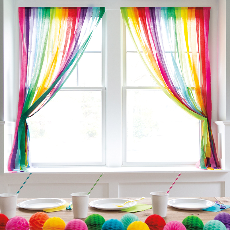 Crepe Paper Streamer Curtains - DIY Party Decoration Ideas